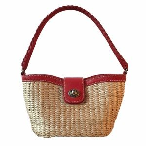 Straw And Red Leather Small Bucket Bag
